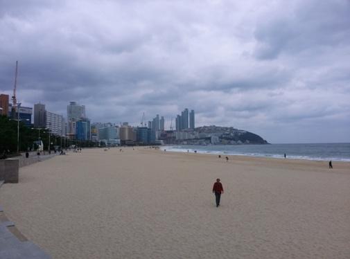 Der Strand Haeundae Beach in Busan