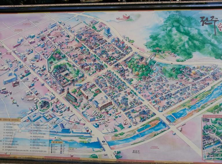 Karte des Jeonju Hanok Dorfes am Eingang